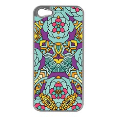 Mariager - Bold blue,purple and yellow flower design Apple iPhone 5 Case (Silver) by Zandiepants