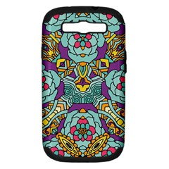 Mariager   Bold Blue,purple And Yellow Flower Design Samsung Galaxy S Iii Hardshell Case (pc+silicone) by Zandiepants