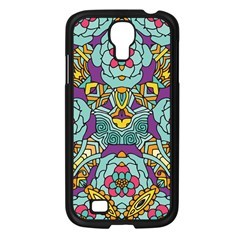 Mariager   Bold Blue,purple And Yellow Flower Design Samsung Galaxy S4 I9500/ I9505 Case (black) by Zandiepants