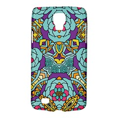 Mariager   Bold Blue,purple And Yellow Flower Design Samsung Galaxy S4 Active (i9295) Hardshell Case by Zandiepants