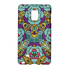 Mariager - Bold blue,purple and yellow flower design Samsung Galaxy Note Edge Hardshell Case by Zandiepants