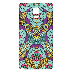 Mariager   Bold Blue,purple And Yellow Flower Design Samsung Note 4 Hardshell Back Case by Zandiepants
