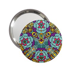 Mariager   Bold Blue,purple And Yellow Flower Design 2 25  Handbag Mirror by Zandiepants