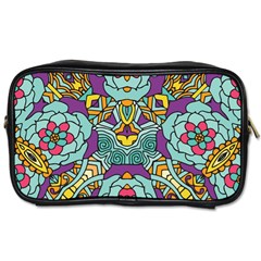 Mariager - Bold blue,purple and yellow flower design Toiletries Bag (Two Sides) by Zandiepants