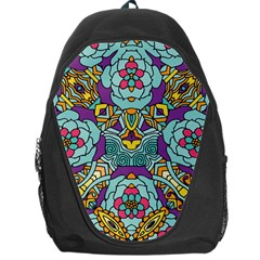 Mariager   Bold Blue,purple And Yellow Flower Design Backpack Bag by Zandiepants