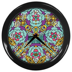 Mariager   Bold Blue,purple And Yellow Flower Design Wall Clock (black) by Zandiepants