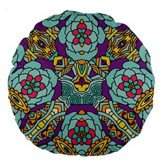Mariager   Bold Blue,purple And Yellow Flower Design Large 18  Premium Round Cushion  by Zandiepants