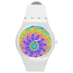 Neon Flower Sunburst Pinwheel Round Plastic Sport Watch (m) by CrypticFragmentsColors