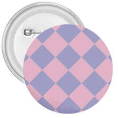 Harlequin Diamond Argyle Pastel Pink Blue 3  Buttons by CrypticFragmentsColors