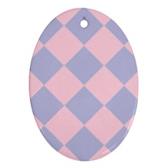 Harlequin Diamond Argyle Pastel Pink Blue Ornament (oval)  by CrypticFragmentsColors