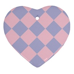 Harlequin Diamond Argyle Pastel Pink Blue Ornament (heart)  by CrypticFragmentsColors