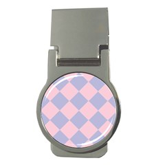 Harlequin Diamond Argyle Pastel Pink Blue Money Clips (round)  by CrypticFragmentsColors