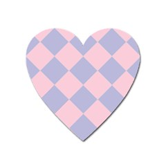 Harlequin Diamond Argyle Pastel Pink Blue Heart Magnet by CrypticFragmentsColors