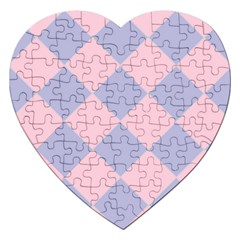 Harlequin Diamond Argyle Pastel Pink Blue Jigsaw Puzzle (heart) by CrypticFragmentsColors