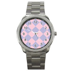 Harlequin Diamond Argyle Pastel Pink Blue Sport Metal Watch by CrypticFragmentsColors
