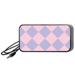 Harlequin Diamond Argyle Pastel Pink Blue Portable Speaker (black)  by CrypticFragmentsColors