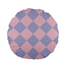 Harlequin Diamond Argyle Pastel Pink Blue Standard 15  Premium Flano Round Cushions by CrypticFragmentsColors