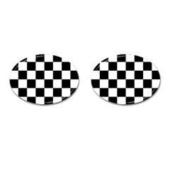 Checkered Flag Race Winner Mosaic Tile Pattern Cufflinks (oval) by CrypticFragmentsColors
