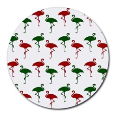 Flamingos Christmas Pattern Red Green Round Mousepad by CrypticFragmentsColors