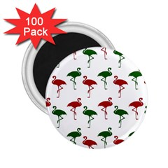 Flamingos Christmas Pattern Red Green 2 25  Magnet (100 Pack)  by CrypticFragmentsColors