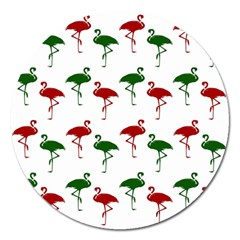 Flamingos Christmas Pattern Red Green Magnet 5  (round) by CrypticFragmentsColors