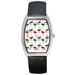 Flamingos Christmas Pattern Red Green Barrel Style Metal Watch by CrypticFragmentsColors