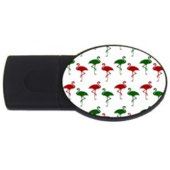 Flamingos Christmas Pattern Red Green Usb Flash Drive Oval (4 Gb) by CrypticFragmentsColors