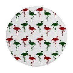 Flamingos Christmas Pattern Red Green Round Ornament (two Sides) by CrypticFragmentsColors