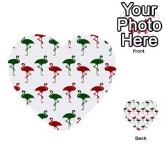 Flamingos Christmas Pattern Red Green Multi Purpose Cards (heart) by CrypticFragmentsColors