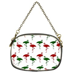 Flamingos Christmas Pattern Red Green Chain Purse (one Side) by CrypticFragmentsColors