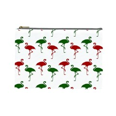 Flamingos Christmas Pattern Red Green Cosmetic Bag (large) by CrypticFragmentsColors