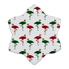Flamingos Christmas Pattern Red Green Snowflake Ornament (two Sides) by CrypticFragmentsColors