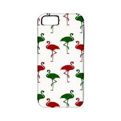 Flamingos Christmas Pattern Red Green Apple Iphone 5 Classic Hardshell Case (pc+silicone) by CrypticFragmentsColors
