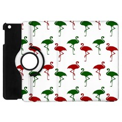 Flamingos Christmas Pattern Red Green Apple Ipad Mini Flip 360 Case by CrypticFragmentsColors