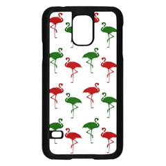 Flamingos Christmas Pattern Red Green Samsung Galaxy S5 Case (black) by CrypticFragmentsColors