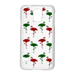 Flamingos Christmas Pattern Red Green Samsung Galaxy S5 Case (white) by CrypticFragmentsColors