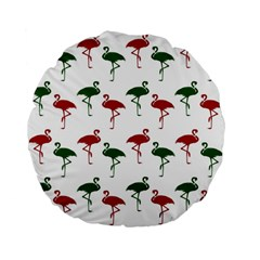 Flamingos Christmas Pattern Red Green Standard 15  Premium Flano Round Cushion  by CrypticFragmentsColors