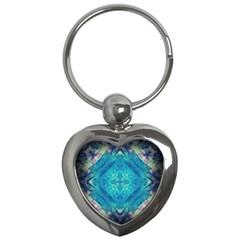 Boho Hippie Tie Dye Retro Seventies Blue Violet Key Chains (heart)  by CrypticFragmentsDesign
