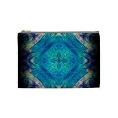 Boho Hippie Tie Dye Retro Seventies Blue Violet Cosmetic Bag (medium)  by CrypticFragmentsDesign