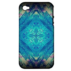 Boho Hippie Tie Dye Retro Seventies Blue Violet Apple Iphone 4/4s Hardshell Case (pc+silicone) by CrypticFragmentsDesign