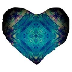Boho Hippie Tie Dye Retro Seventies Blue Violet Large 19  Premium Flano Heart Shape Cushions by CrypticFragmentsDesign