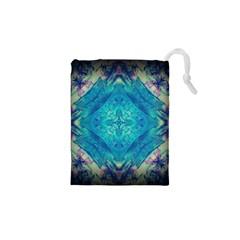 Boho Hippie Tie Dye Retro Seventies Blue Violet Drawstring Pouches (xs)  by CrypticFragmentsDesign