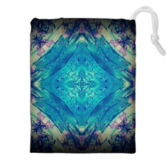 Boho Hippie Tie Dye Retro Seventies Blue Violet Drawstring Pouches (XXL) by CrypticFragmentsDesign
