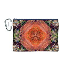 Boho Bohemian Hippie Floral Abstract Faded  Canvas Cosmetic Bag (m) by CrypticFragmentsDesign