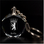 Engraved Berlin Key Chain - 3D Engraving Circle Key Chain