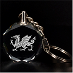 Engraved Welsh Dragon Key Chain - 3D Engraving Circle Key Chain