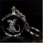 Engraved Winged Dragon Key Chain - 3D Engraving Circle Key Chain