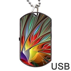 Fractal Bird Of Paradise Dog Tag Usb Flash (two Sides) by WolfepawFractals