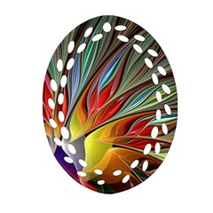 Fractal Bird Of Paradise Ornament (oval Filigree) by WolfepawFractals