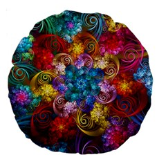 Spirals And Curlicues Large 18  Premium Round Cushions by WolfepawFractals